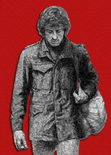 1980's Movie - FIRST BLOOD - RAMBO SKETCH RED canvas print - self adhesive poster - photo print